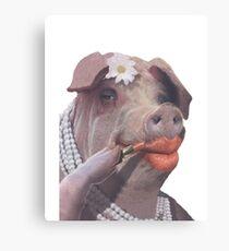 Lippenstift auf ein Schwein Leinwanddruck