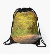 forest path in orange foliage Drawstring Bag