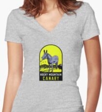 Rocky Mountain Canary Vintage Travel Decal Women's Fitted V-Neck T-Shirt