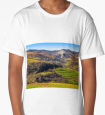 Rail road winds through mountainous rural area Long T-Shirt