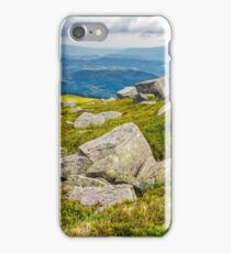 meadow with boulders in Carpathian mountains in summer iPhone Case/Skin