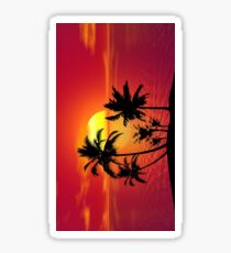 tropical beach sunset Sticker