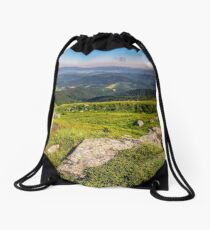 meadow with boulders in Carpathian mountains in summer Drawstring Bag