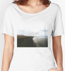Moody black sand beach in Iceland - Landscape Photography Women's Relaxed Fit T-Shirt