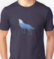 Call of the Gray Wolf across the forest mountains T-Shirt