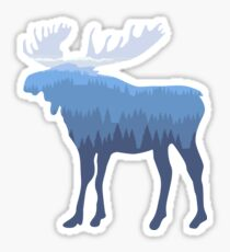 Moose in mountain forest Sticker