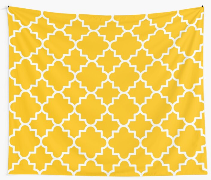 Quatrefoil-1, hot yellow and white by Slanapotam