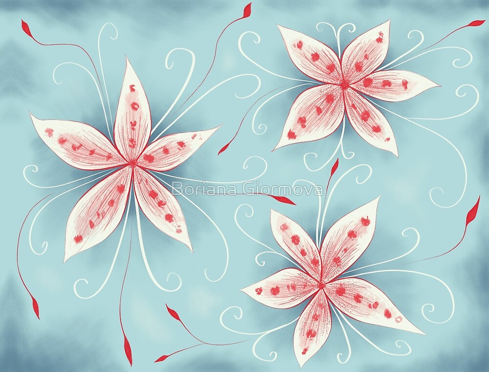 Beautiful Abstract Flowers In Red White And Blue by Boriana Giormova