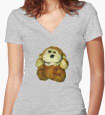 King Kong Stuffed Animal Women's Fitted V-Neck T-Shirt