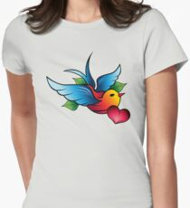 Tattoo Styled Bird with Love Heart Womens Fitted T-Shirt