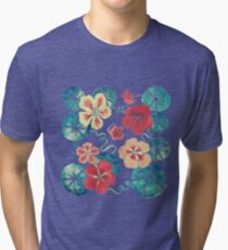 Watercolor Nasturtiums: In the Still of the Night Tri-blend T-Shirt
