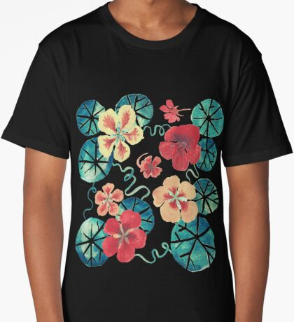 Watercolor Nasturtiums: In the Still of the Night Long T-Shirt