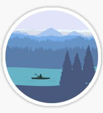 Kayak, forest and mountains Sticker