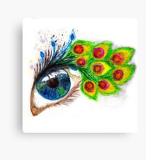 Peacock feather eyelashes Canvas Print