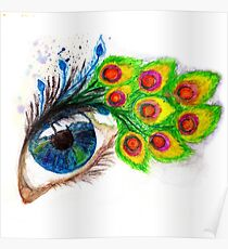 Peacock feather eyelashes Poster