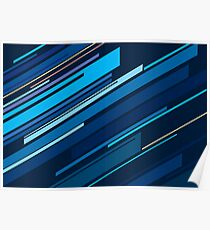 Abstract Blue Oblique Lines Poster