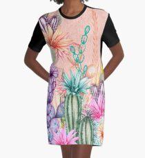 Cacti Flowers Graphic T-Shirt Dress