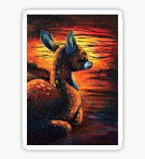 """""""Quick Fawn III""""; Acrylics, Canvas, Surreal Sticker"""