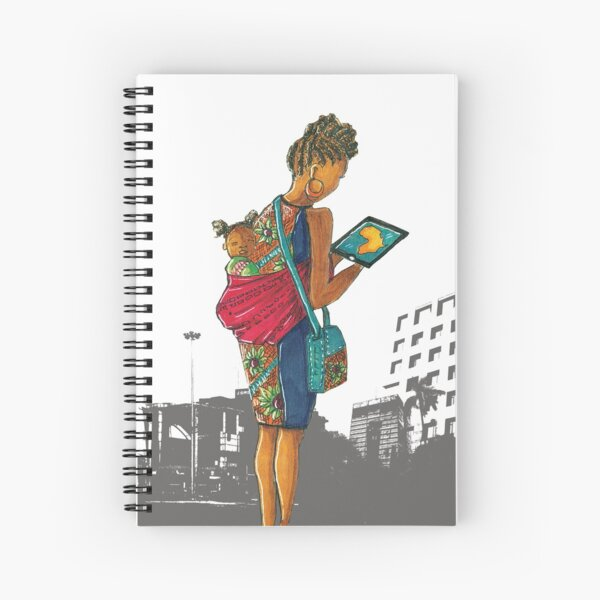 Urban cityscape - mother and child Spiral Notebook