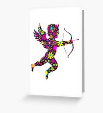 colorful floral cupid Greeting Card