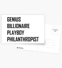 Genius, Billionaire, Playboy, Philanthropist Postcards