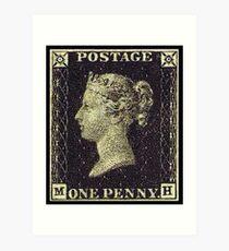 Penny Black, Stamp, Post, Postage, Mail, 1837 Art Print