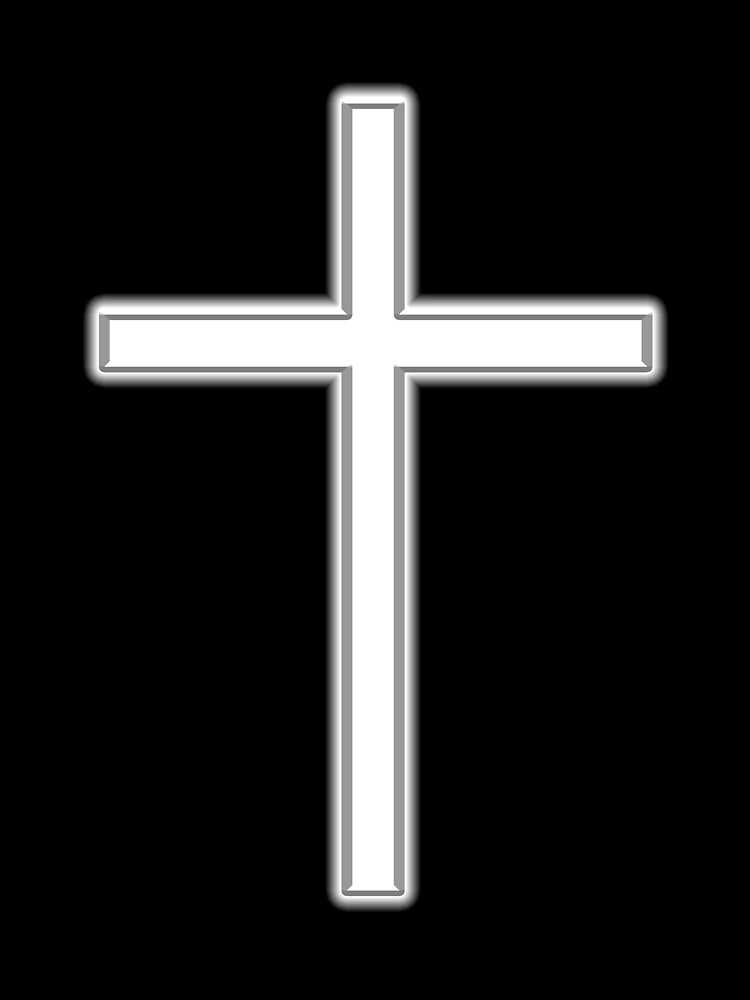 Cross, Christian, Crucifix, Religeon, Belief, Crucifixion, Christianity, Jesus, Lord, White on Black von TOMSREDBUBBLE