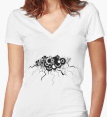 black grunge cloud Women's Fitted V-Neck T-Shirt