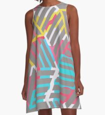 Abstract Colorful Geometric Shapes A-Line Dress