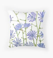 purple chicory watercolor  Throw Pillow