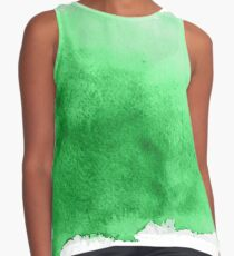 Green Abstract Watercolor Paint Contrast Tank