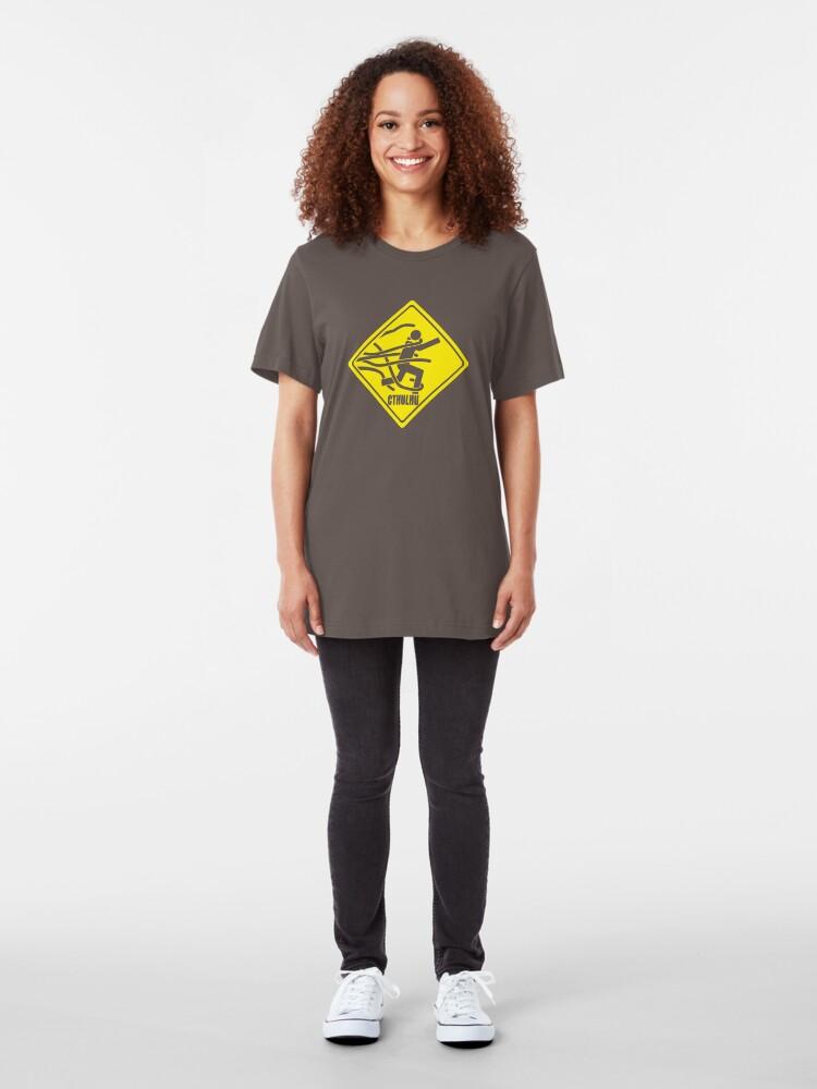 Alternate view of Warning: Cthulhu Slim Fit T-Shirt