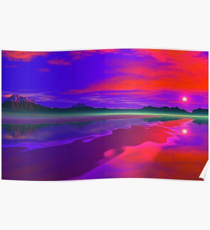 Fire Beach Sunset Poster