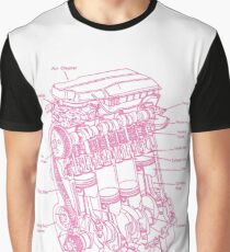 PINK ENGINE BLUE PRINT FOR WOMAN Graphic T-Shirt