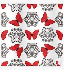 Red butterflies and black ornamental mandalas Poster