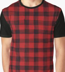 Watercolor Red and Black Scottish Plaid Graphic T-Shirt