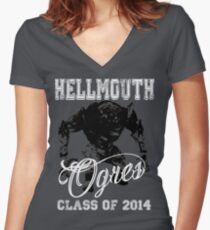 Hellmouth Ogres Women's Fitted V-Neck T-Shirt