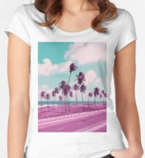 Vaporwave Sea Side Road Women's Fitted Scoop T-Shirt