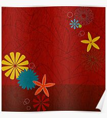Retro 60s Brick Red Floral  Poster