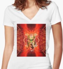 Fire Mask Women's Fitted V-Neck T-Shirt
