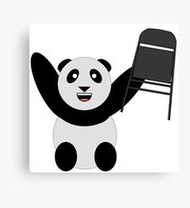 WWF Panda Parody Steel Chair Canvas Print