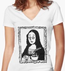 Coffee First Mocha Lisa Women's Fitted V-Neck T-Shirt