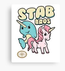 Stab Bros! Narwhal and Unicorn Team Up! Canvas Print