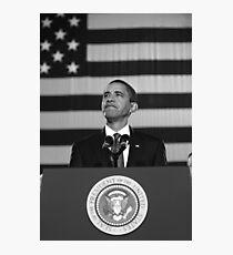 President Obama Speaking - American Flag Photographic Print