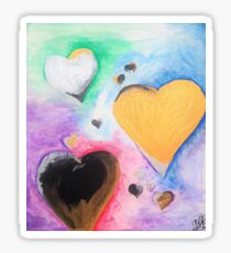 Colorful golden Hearts Sticker