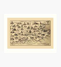 Vintage Map of Guildford Surrey, London, Kent, Oxford, Windsor Art Print