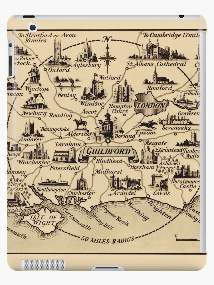Map London To Oxford.Vintage Map Of Guildford Surrey London Kent Oxford Windsor Ipad Case Skin By Aapshop