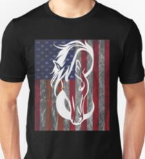 Horse Head USA Flag Design  T-Shirt