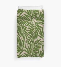 Kahanu Palms Hawaiian Linen Texture - Olive Green Duvet Cover