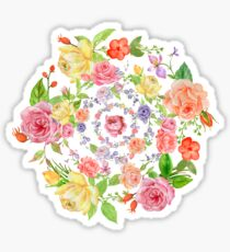 Bouquet of PINK, YELLOW AND ORANGE rose - wreath Sticker